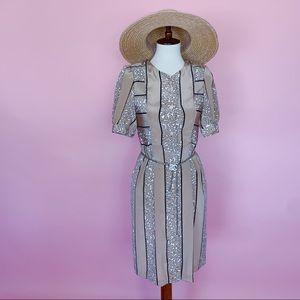 Vtg 80s Go Wild Animal Print Duster Dress S M